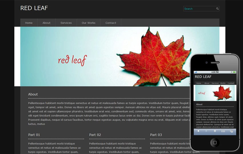 Redleaf Free Portfolio Mobile Website Template Mobile website template Free