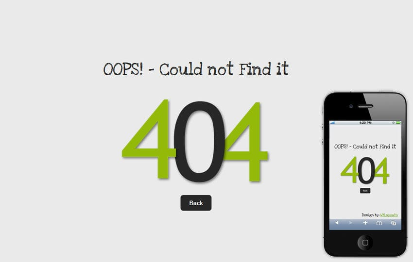 Oops 404 Page Not Found Mobile Website Template Mobile website template Free