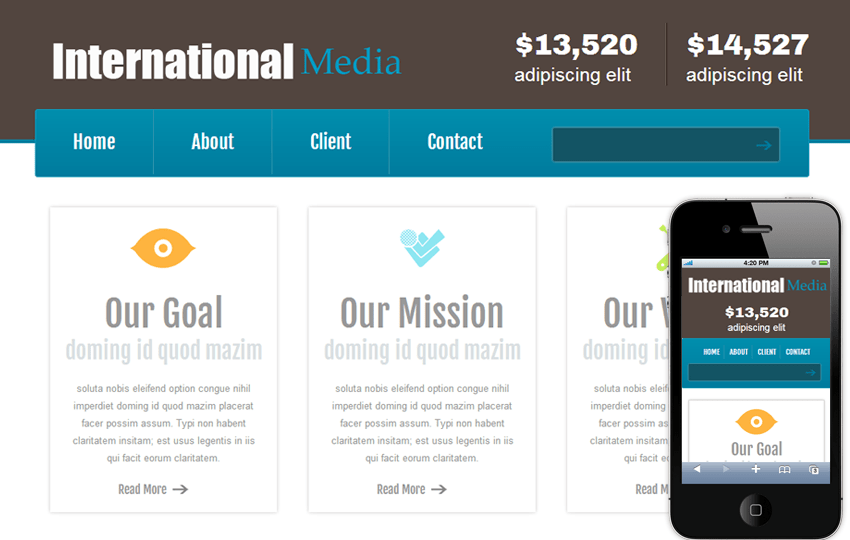 New International Media web and Mobile website template for free Mobile website template Free