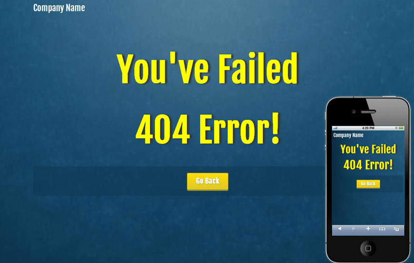 Blue Pattern 404 Page Not Found Mobile Web Template Mobile website template Free