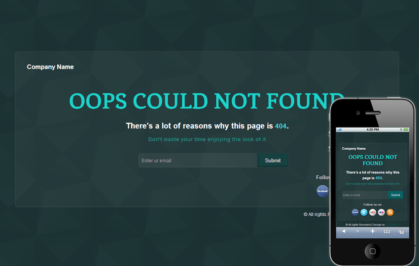 Green Glossy 404 Page Not Found Mobile Web Template Mobile website template Free