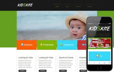 Kids Kite web and mobile template for free