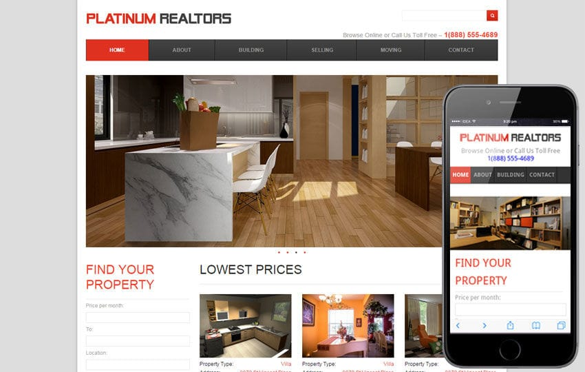Platinum Realtors web and mobile  template for free