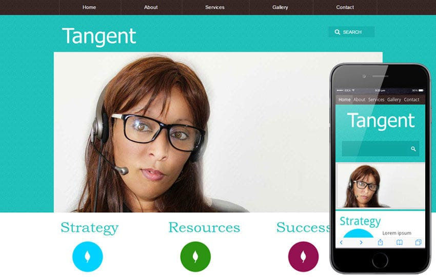Tangent web template and mobile website template for free Mobile website template Free