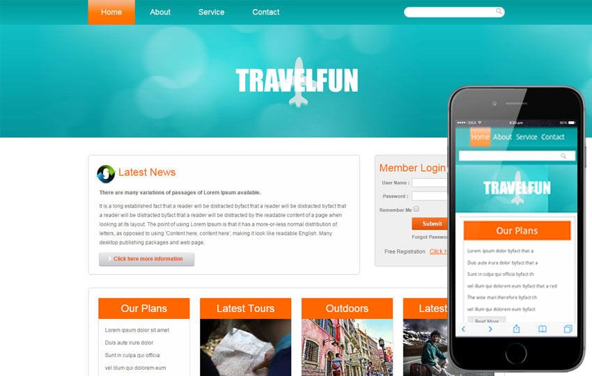Travel Fun web and mobile website template Mobile website template Free