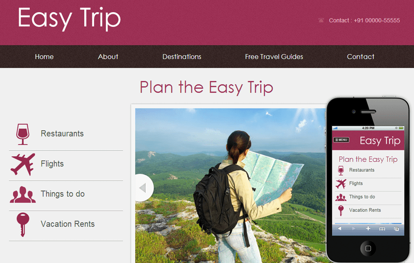 Easy Trip web and mobile website template for free Mobile website template Free
