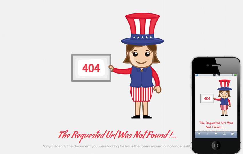404 Event Page Not Found Mobile Web Template Mobile website template Free