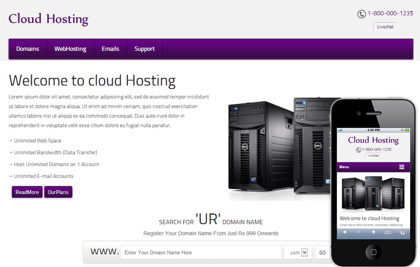 Cloud Hosting Domain Name Mobile Web Template