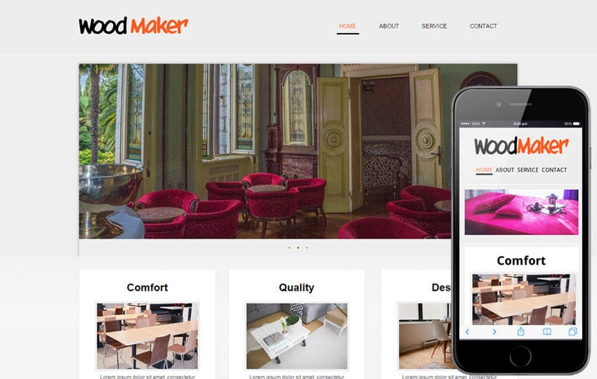 Wood Maker web and mobile website template for free Mobile website template Free