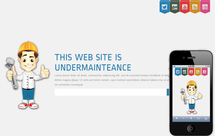 Launcher Under Construction Mobile Website Template