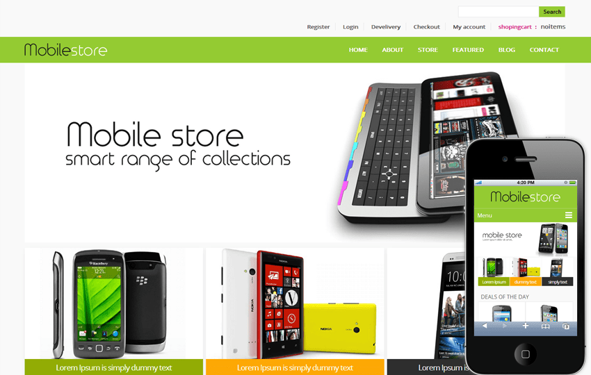 Mobile Store E-commerce Shopping cart  Mobile website Template Mobile website template Free