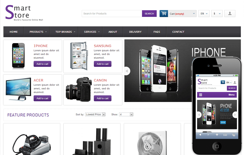 Smart Store Online Shopping Cart Mobile website Template Mobile website template Free