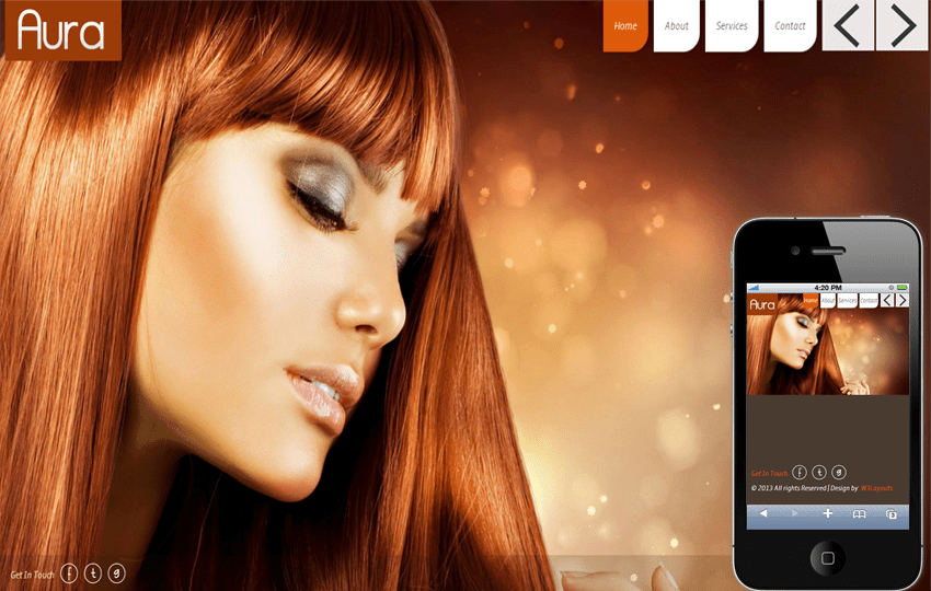 Aura Beauty Parlour Mobile Website Template Mobile website template Free
