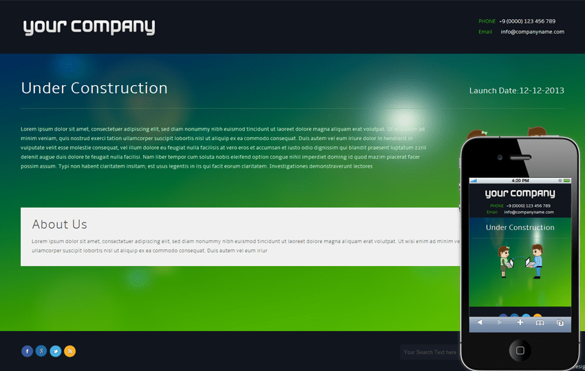 Black Under Construction Mobile Website Template