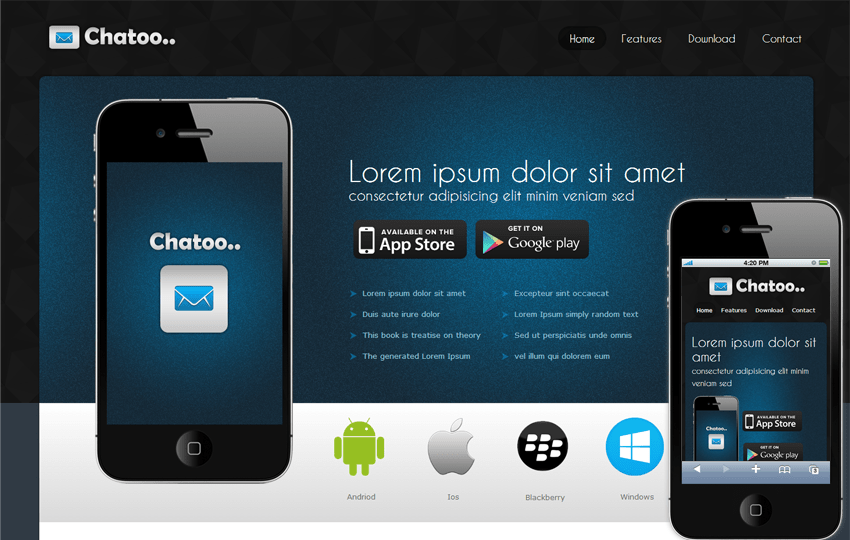 Chatoo a Application Mobile Website Template