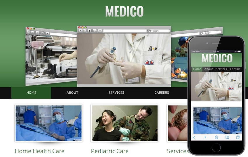 Medico Hospital Mobile Website Template Mobile website template Free