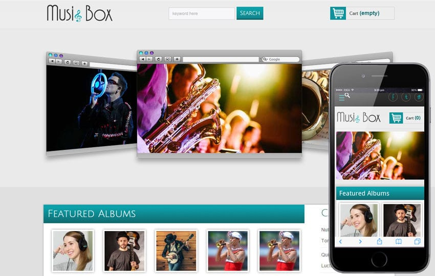 Music Box online music Mobile Website Template Mobile website template Free