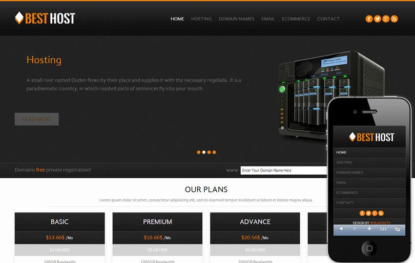 Best Host Domain sales Mobile Web Template Mobile website template Free