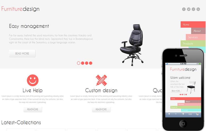 Furniture Design Mobile Website Template Mobile website template Free