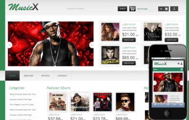 MusicX online shopping music Mobile Website Template