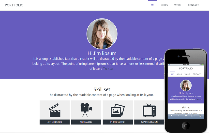 Portfolio personal web and Mobile Website Template Mobile website template Free