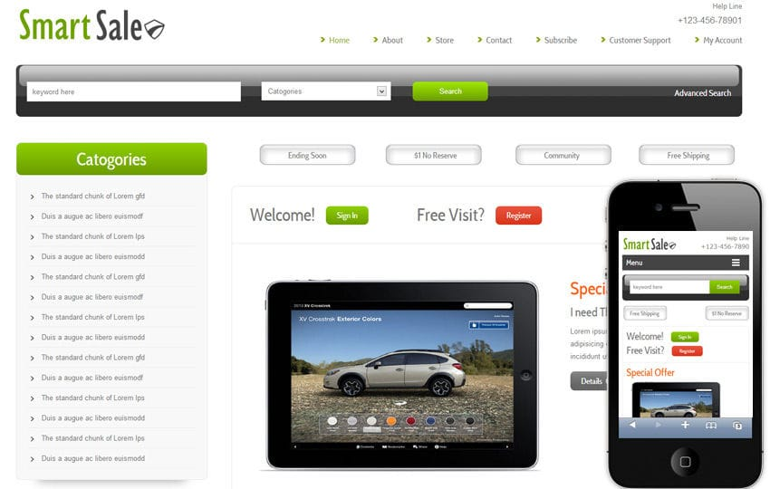 Smart Sale Online Shopping Cart Mobile website Template by