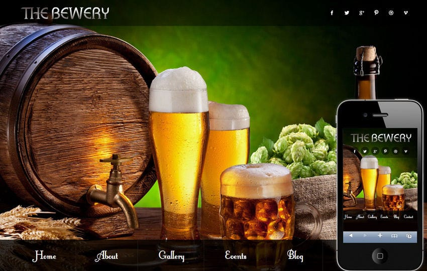 Brewery food and drinks Mobile Website Template