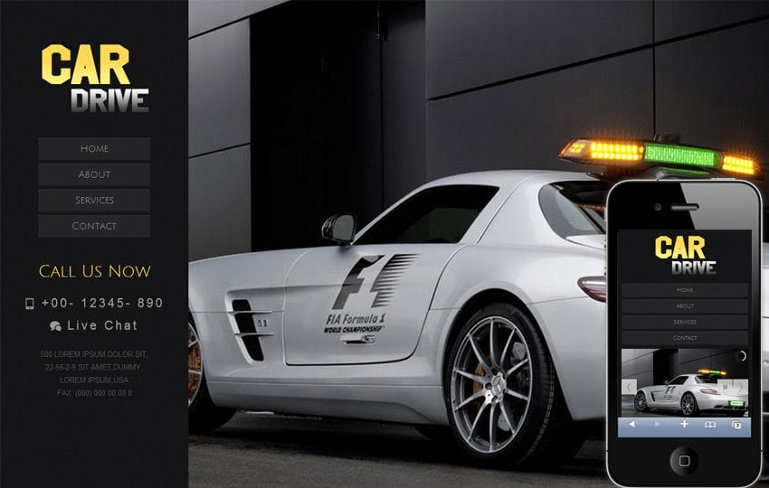 Car Drive automobile Mobile Website Template Mobile website template Free