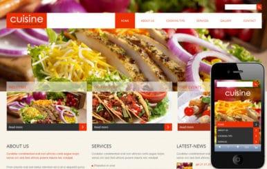 Cuisine a Hotel Mobile Website Template