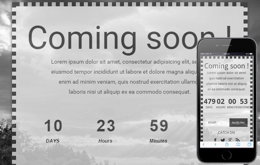 Dark Under Construction Mobile Website Template