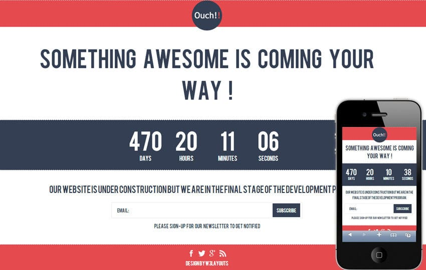 Ouch Under Construction Mobile Website Template