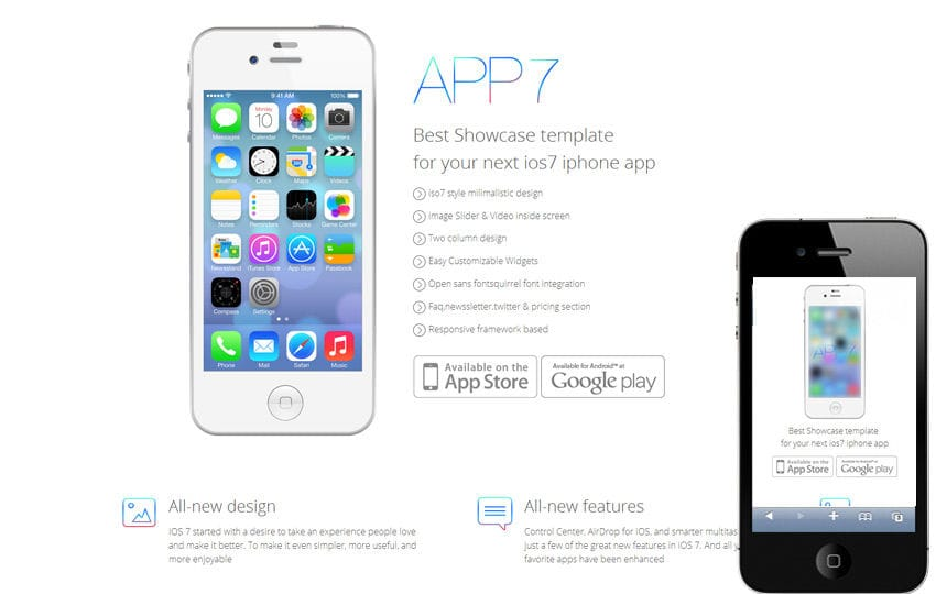 iOS7 App Responsive Landingpage web template Mobile website template Free