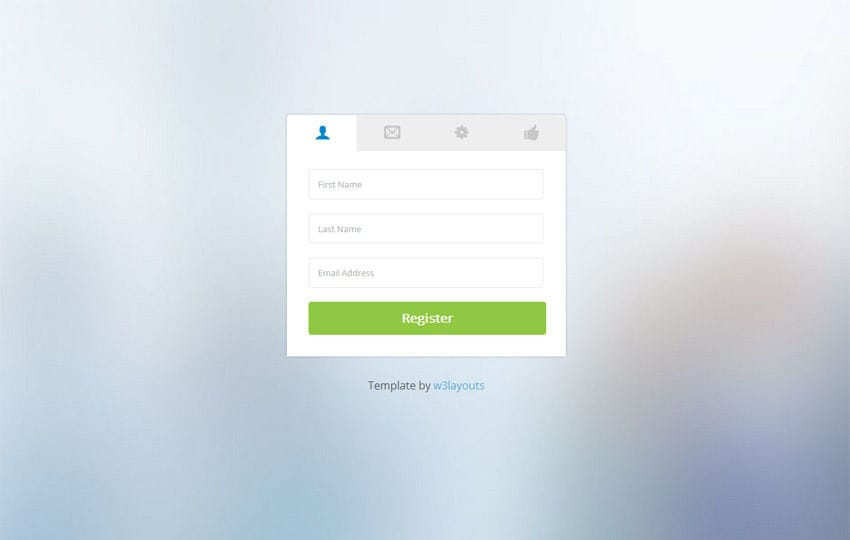 Clean Classy Registration Form Mobile website template Free