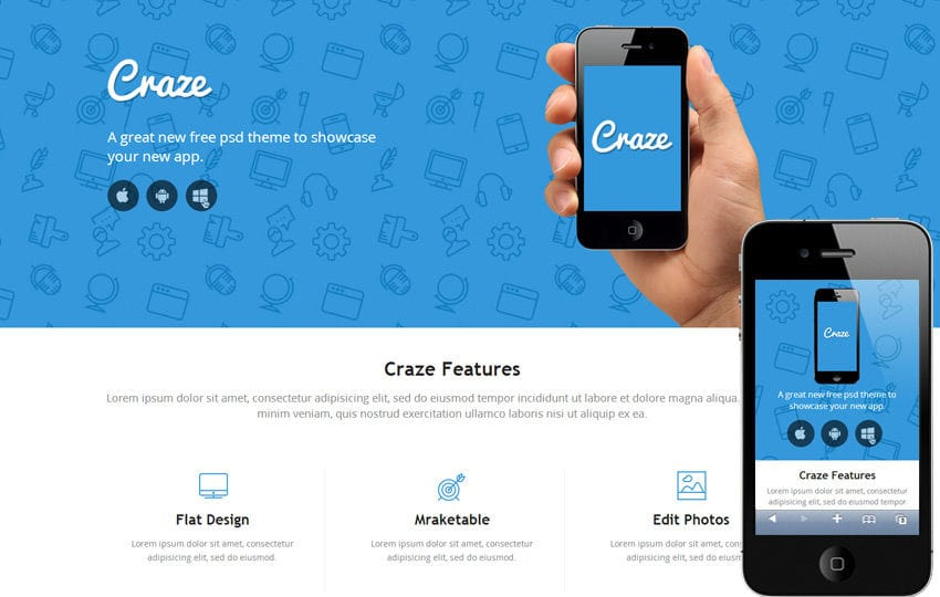 Craze Single page Responsive website template Mobile website template Free