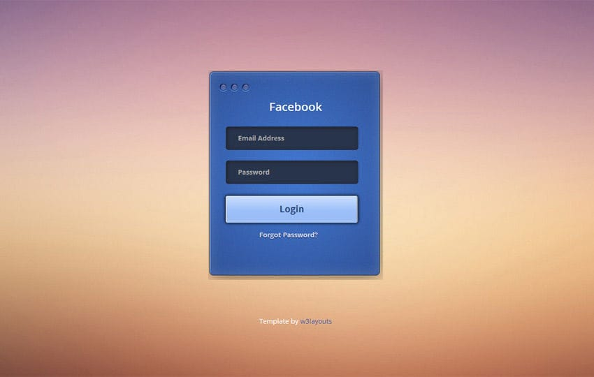 Facebook Login Form by w3layouts