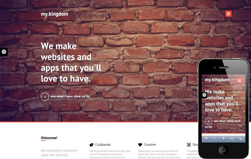 My Kingdom Minimalistic – A Flat Corporate Responsive Web Template Mobile website template Free