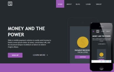 Slide Landing Page Flat Responsive web template