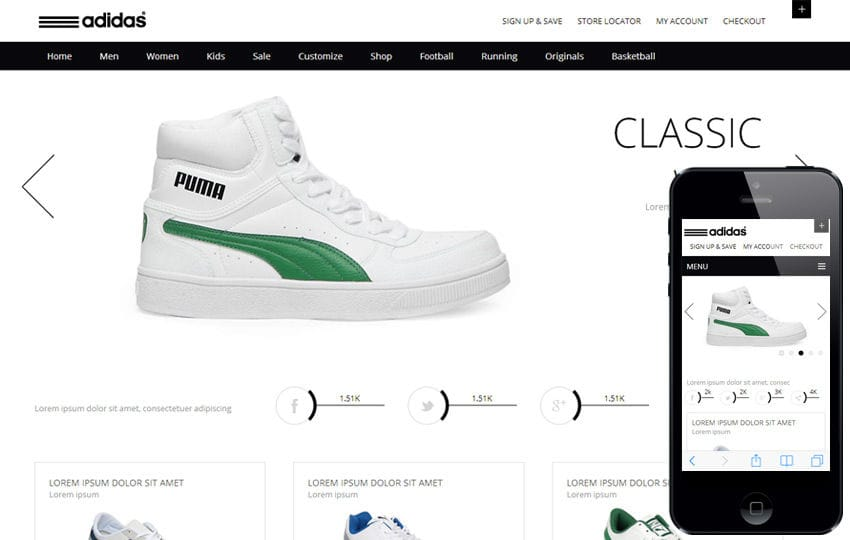 Whity, a Clean,  Flat E commerce Responsive web template