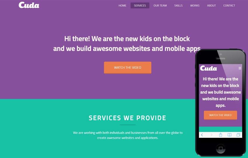 Cuda a Portfolio Flat Responsive web template