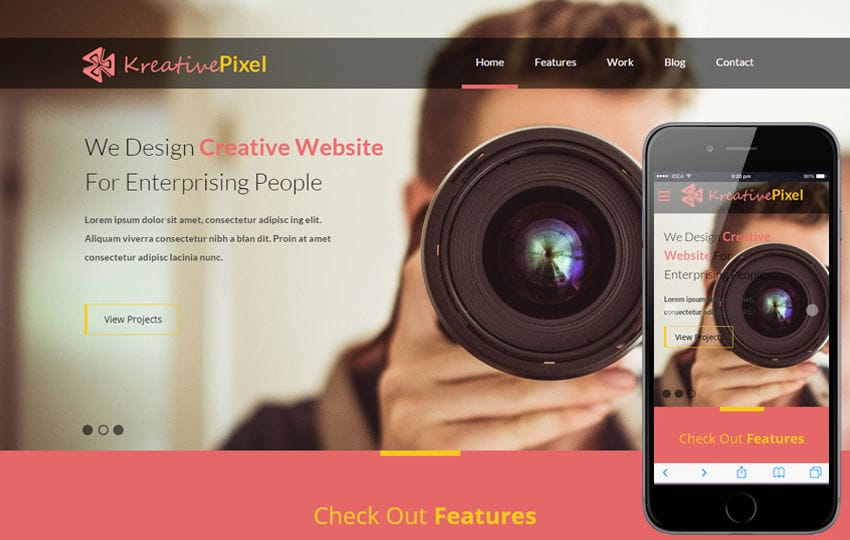 KreativePixel a Corporate Responsive web template Mobile website template Free