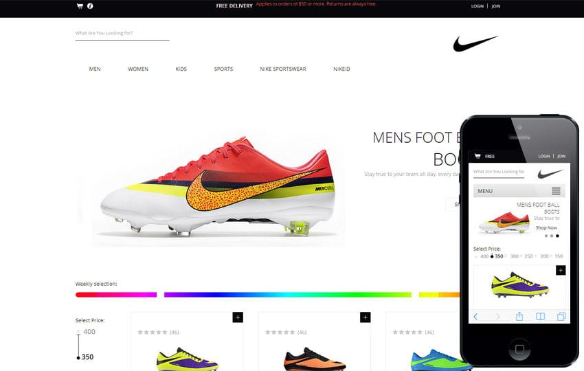 Spike Shoes a Flat ECommerce Responsive Web Template Mobile website template Free