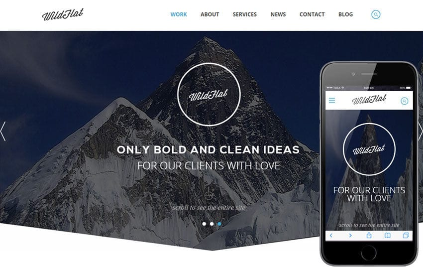 WildFlat a Corporate Flat Responsive web template Mobile website template Free