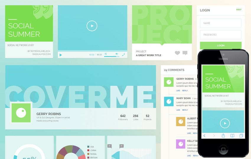 Social Summer UI KIT Flat Responsive web template Mobile website template Free