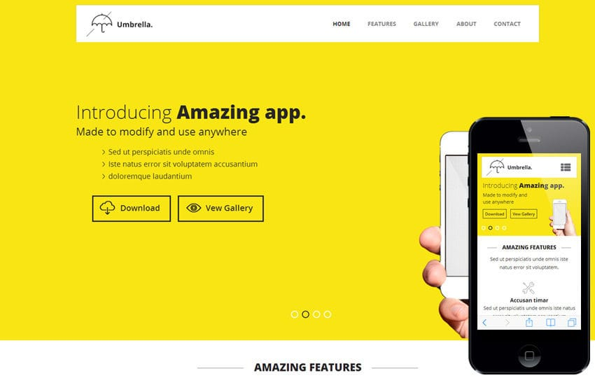 Umbrella a Mobile App based Flat Bootstrap Responsive web template