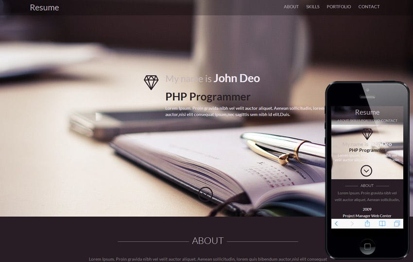 Resume a Onepage Portfolio Flat Bootstrap Responsive Web Template Mobile website template Free