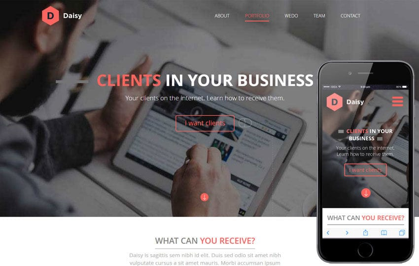 Daisy a Corporate Portfolio Flat Bootstrap Responsive web template Mobile website template Free
