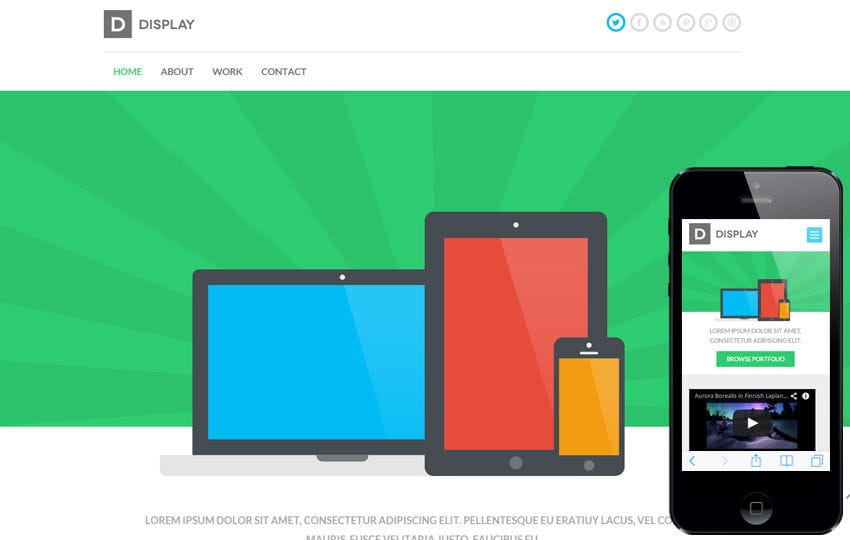 Display a Mobile App based Flat Bootstrap Responsive web template