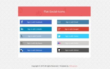 Flat Social Media Icons Widget Template