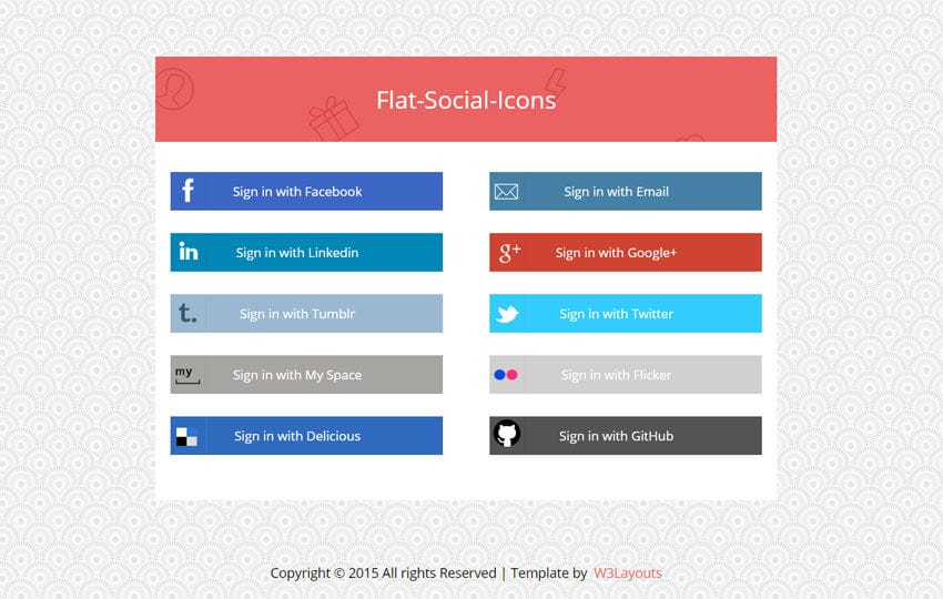 Flat Social Media Icons Widget Template Mobile website template Free