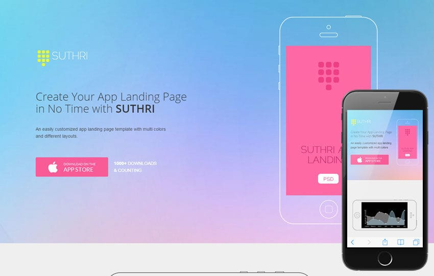 Suthri a Mobile App based Flat Bootstrap Responsive Web Template Mobile website template Free